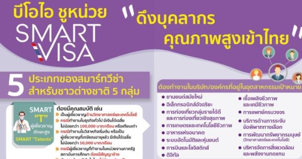 บีโอไอ ชูหน่วย SMART Visa ดึงบุคลากรคุณภาพสูงเข้าไทย